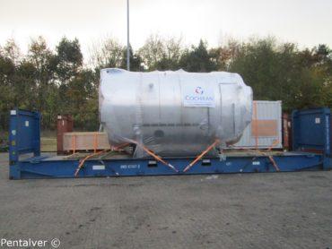 Boiler secured to flat rack
