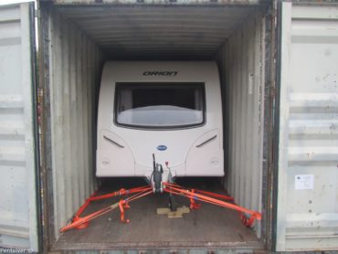 Caravan secured in 40'HC
