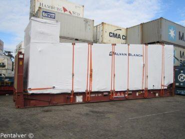 Grain dryer secured to flat rack