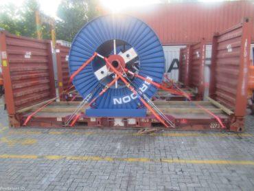 Reel secured to flat rack